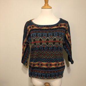 Forever 21-Boho Aztec 3/4 Sleeve Knit Top-Size Med